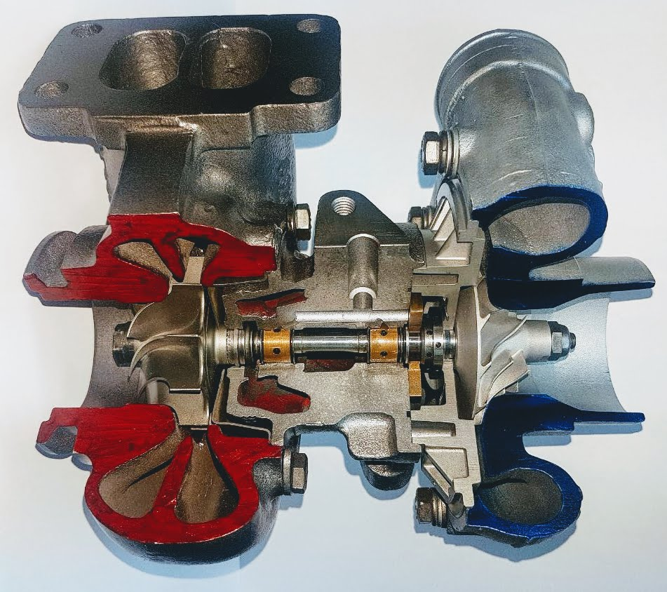 Cross section of a turbocharger.